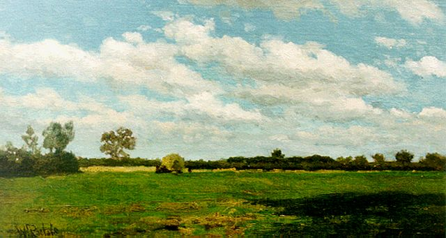 Roelofs W.  | A landscape with a haycart, oil on canvas laid down on panel, 23.0 x 41.2 cm, signed l.l.