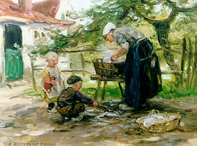 Zoetelief Tromp J.  | Mother's little helper, oil on canvas 30.7 x 40.6 cm, signed l.l. and on the reverse