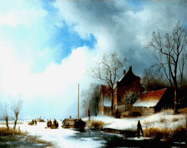 Jan Jacob Spohler | Skaters on a frozen river, oil on canvas, 53.8 x 68.8 cm, signed l.l. and dated A: 1839