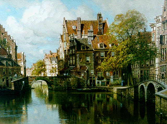 Johannes Christiaan Karel Klinkenberg | View of the Grimburgwal, Amsterdam, oil on canvas, 60.0 x 80.0 cm, signed l.r.