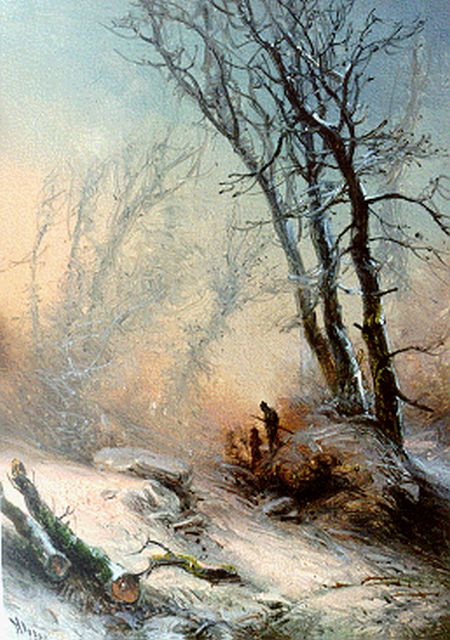 Pieter Kluyver | Hunters in a snow-covered landscape, oil on panel, 15.4 x 11.3 cm, signed l.l.