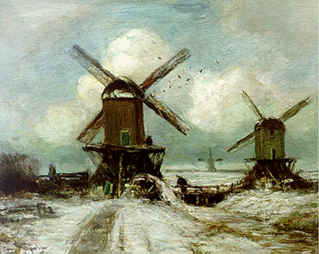 Louis Apol | Windmills in a snow-covered landscape, oil on canvas, 40.2 x 50.7 cm, signed l.l.