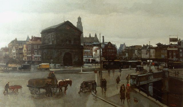 Cor Noltee | View of the Delftse Poort, Rotterdam, oil on canvas, 60.8 x 100.1 cm, signed l.r.