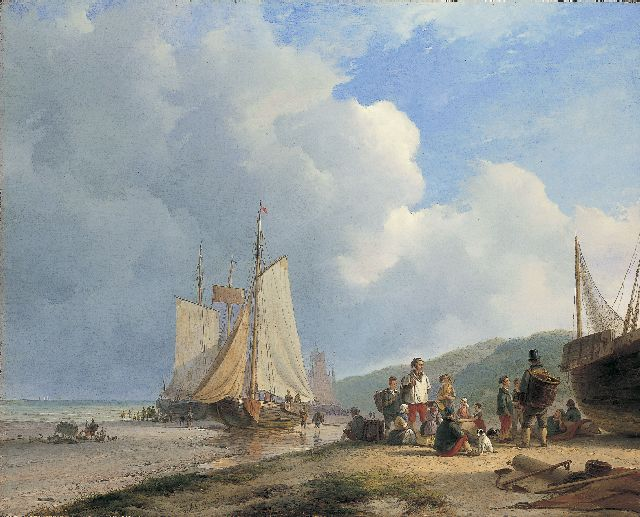 Andreas Schelfhout | Fisherfolk on the beach, oil on canvas, 67.6 x 84.3 cm, signed c.l. and dated 1831