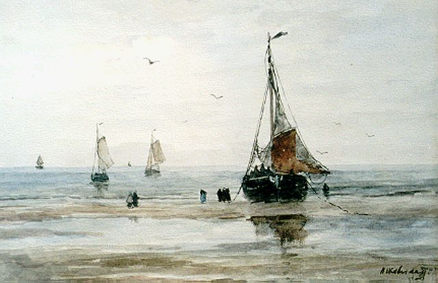 Hendrik Willem Mesdag | 'Bomschuiten' on the beach, watercolour on paper, 26.7 x 36.8 cm, signed l.r.