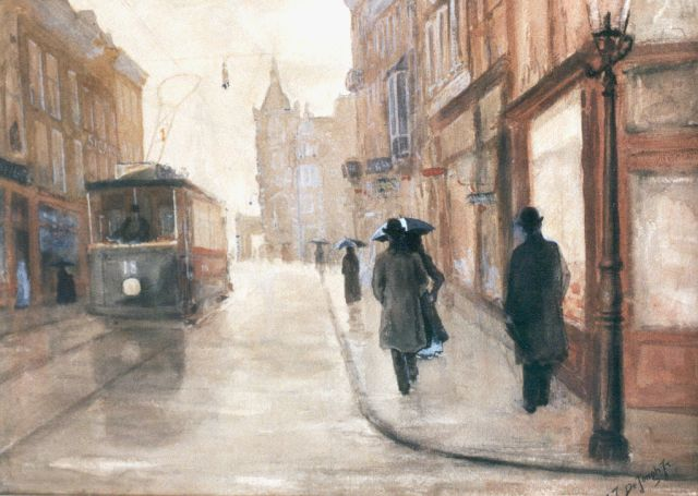Tinus de Jongh | View of the Leidsestraat, Amsterdam, watercolour on paper, 31.3 x 44.3 cm, signed l.r.