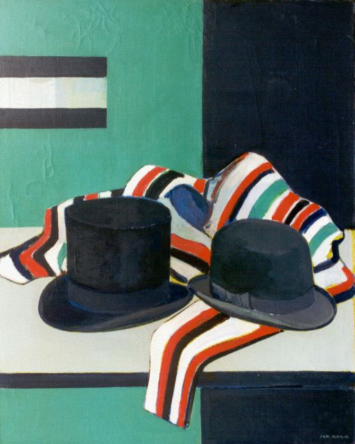 Jan Kagie | A still life with hats, oil on canvas, 100.1 x 80.4 cm, signed l.r.