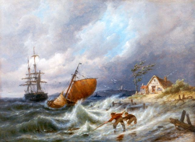 Pieter Cornelis Dommershuijzen | Shipping on choppy waters, Zuiderzee, oil on panel, 30.3 x 40.7 cm, signed l.l. and dated 1903
