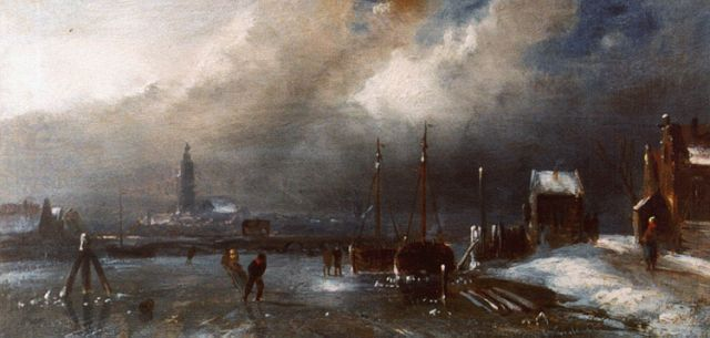 Charles Leickert | Skaters on a frozen waterway, oil on panel, 11.0 x 22.3 cm, signed l.r. and on the reverse