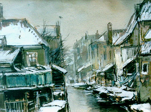 Louis Apol | A snow-covered town, watercolour and gouache on paper laid down on board, 12.3 x 16.1 cm, signed l.l.