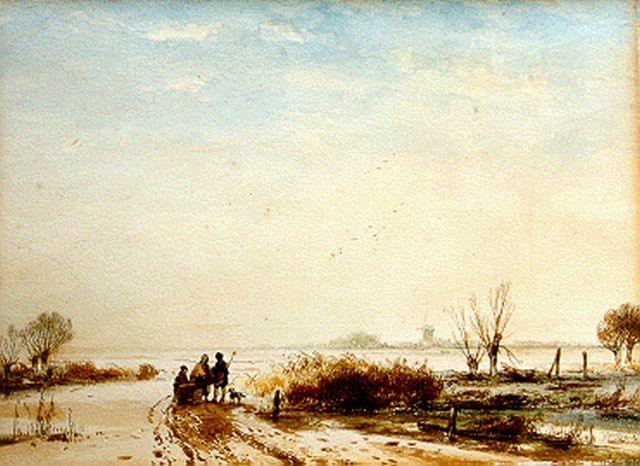 Andreas Schelfhout | A winter landscape with figures by a sledge, pen and watercolour on paper, 25.4 x 33.8 cm, signed l.r.