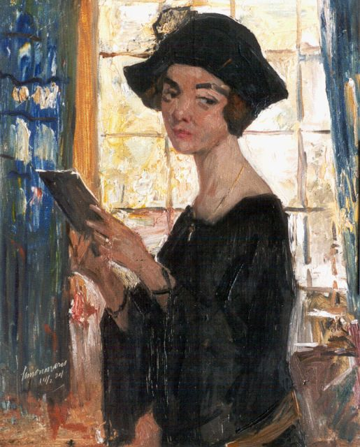Simon Willem Maris | Portrait of a lady with a letter, oil on panel, 46.0 x 37.3 cm, signed l.l. and executed on 14/2/24