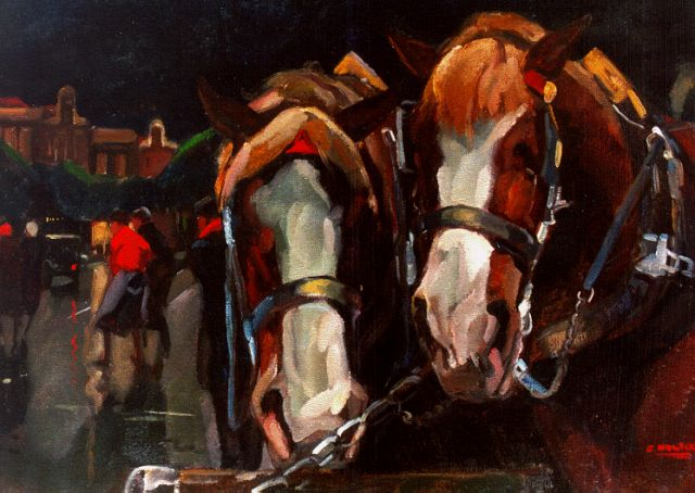 Cor Noltee | Horses, oil on canvas, 50.0 x 70.0 cm, signed l.r.