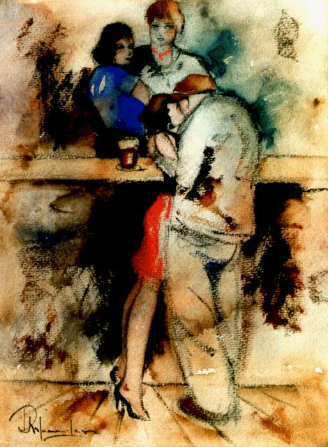 Rijlaarsdam J.  | A fond embrace at the bar, black chalk and watercolour on paper 35.0 x 27.0 cm, signed l.l.