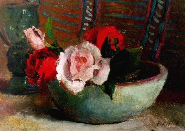 Jan Altink | A still life with roses, 23.8 x 33.8 cm, signed l.r.
