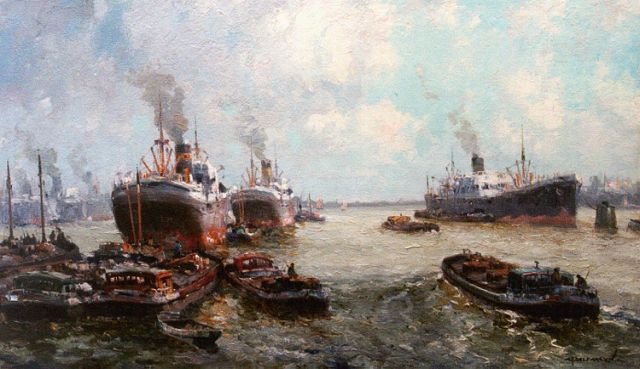 Gerard Delfgaauw | The harbour of Rotterdam, oil on canvas, 60.4 x 100.1 cm, signed l.r.