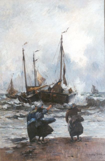 German Grobe | The departure of the fleet, oil on canvas, 90.3 x 60.5 cm, signed l.r. and dated 1903