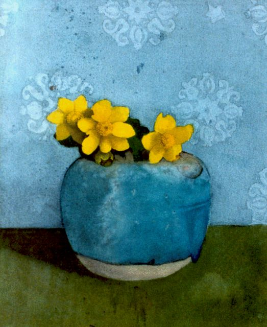 Jan Voerman sr. | A still life with buttercups, watercolour on paper, 25.0 x 20.5 cm