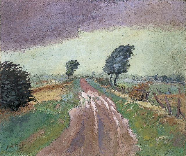Jan Altink | Old road between Garmerwolde and Ten Boer, oil on canvas, 61.7 x 72.3 cm, signed l.l. and dated '33