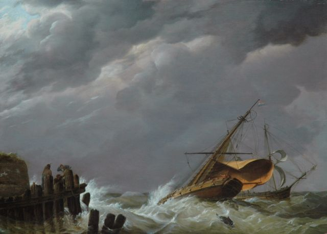 Johannes Hermanus Koekkoek | Dutch sailing vessels in stormy weather near the harbour, oil on panel, 44.9 x 62.1 cm, signed l.l. and dated 1816