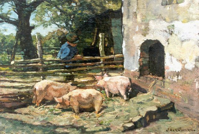 Johannes Evert Hendrik Akkeringa | Feeding the pigs, oil on canvas, 32.7 x 47.2 cm, signed l.r.