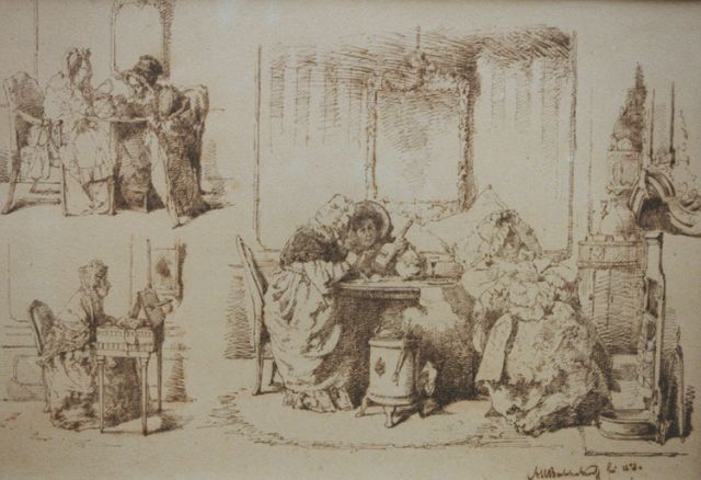 Alexander Hugo Bakker Korff | Three interior drawings, pen and ink on paper, 29.1 x 41.2 cm, signed l.r. and dated 1873