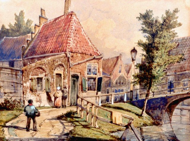 Willem Koekkoek | The Staaleversgracht, Enkhuizen, watercolour on paper, 21.5 x 28.4 cm, signed l.l. with initials