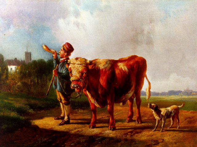 Albertus Verhoesen | A young shepherd, oil on panel, 17.9 x 23.0 cm, signed l.l. and dated 1870