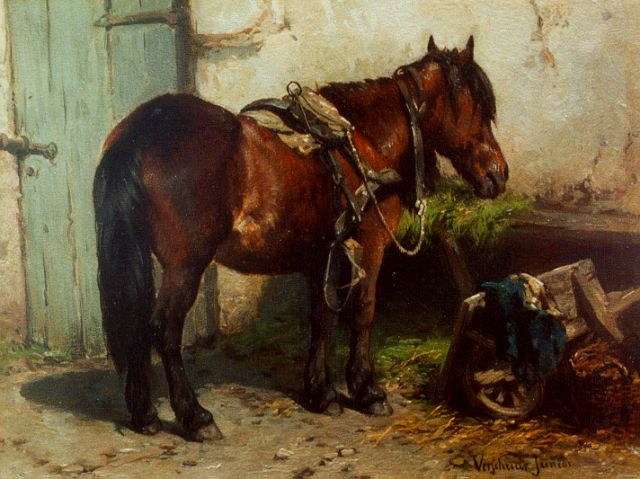 Wouter Verschuur jr. | A horse on a yard, oil on panel, 15.2 x 20.3 cm, signed l.r.
