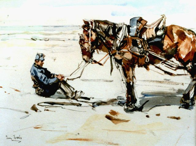 Israels I.L.  | A gunner on the beach, watercolour on paper, 19.4 x 26.0 cm, signed l.l. and dated 1882