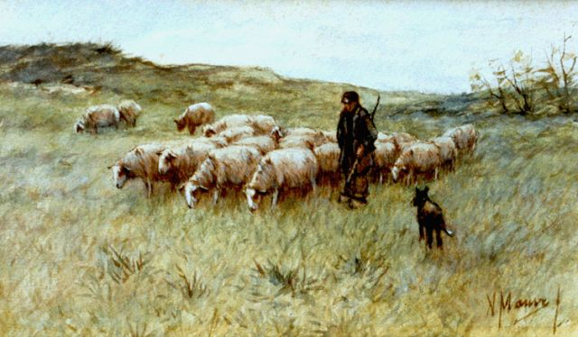 Anton Mauve | A shepherd with his flock, watercolour on paper, 14.6 x 24.4 cm, signed l.r.