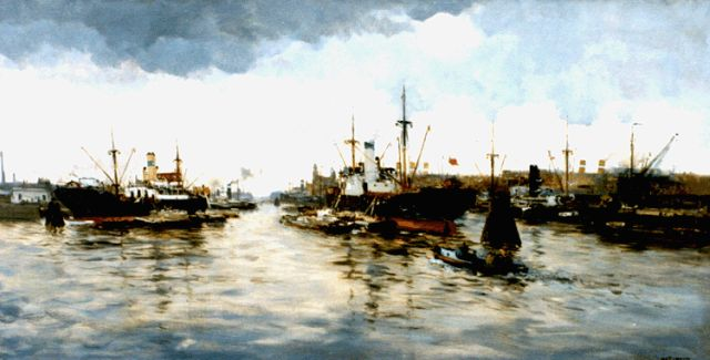 Willem George Frederik Jansen | A view of the harbour of Rotterdam, oil on canvas, 80.0 x 155.5 cm, signed l.r.