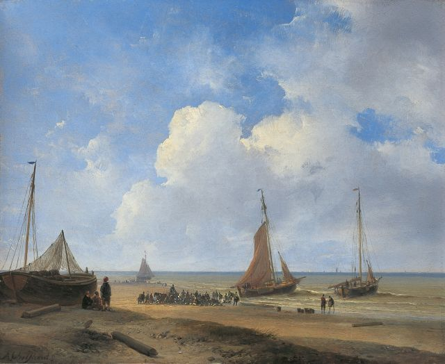 Andreas Schelfhout | Fish auction near Scheveningen, oil on painter's cardboard, 22.7 x 28.0 cm, signed l.l. and painted in 1835