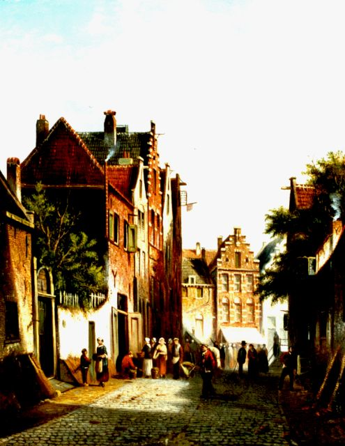Johannes Franciscus Spohler | Daily activities in a sunlit street, oil on canvas, 44.3 x 35.3 cm, signed l.r.