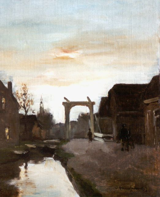 Jan Hendrik Weissenbruch | A drawbridge, Nieuwkoop, oil on canvas laid down on panel, 32.8 x 26.8 cm, signed l.r.