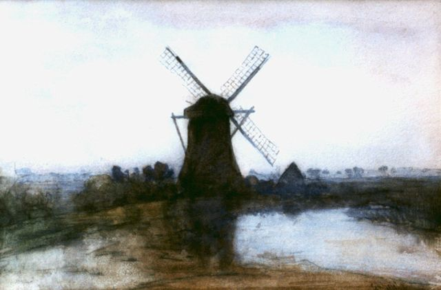 Paul Joseph Constantin Gabriel | A windmill in a landscape, watercolour on paper, 23.3 x 35.0 cm, signed l.r.