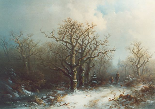 Pieter Kluyver | Travelers in a winter landscape, oil on panel, 61.2 x 84.4 cm, signed l.r.