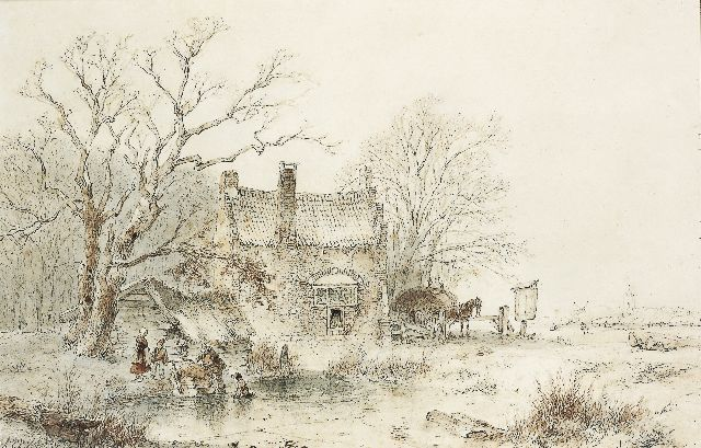 Andreas Schelfhout | A winter landscape with figures on a frozen waterway, pencil and ink on paper, 27.1 x 41.5 cm, signed l.l. and dated '50