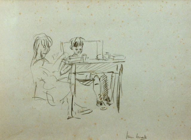 Israels I.L.  | Children by a table, pencil on paper, 17.8 x 25.4 cm, signed l.r.