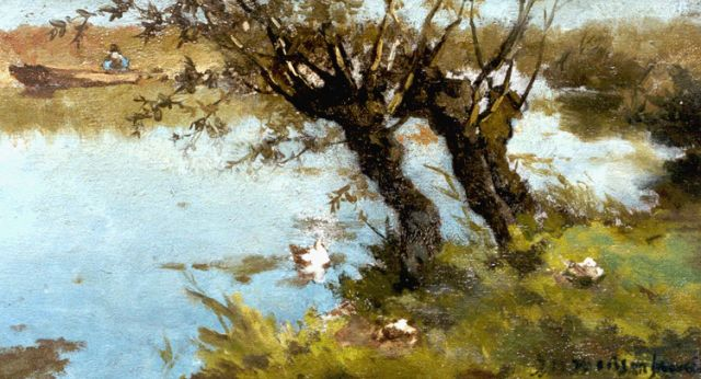 Jan Hendrik Weissenbruch | Ducks on the riverbank, oil on panel, 16.6 x 29.0 cm, signed l.r.