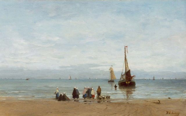 Hendrik Willem Mesdag | Beach view of fishermen's wives awaiting the catch, oil on canvas, 48.1 x 78.1 cm, signed l.r.