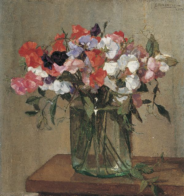 Johannes Evert Hendrik Akkeringa | Sweetpea in a glass bowl, oil on canvas, 40.0 x 38.0 cm, signed u.r. and dated 1922
