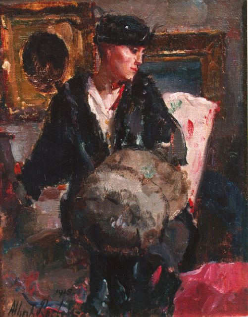Albert Roelofs | Interior with an elegant lady, oil on canvas laid down on board, 23.9 x 19.0 cm, signed l.l. and dated 1915