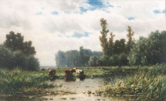 Roelofs W.  | Cows on the riverbank of the river Gein, oil on canvas, 109.4 x 174.5 cm, signed l.r.