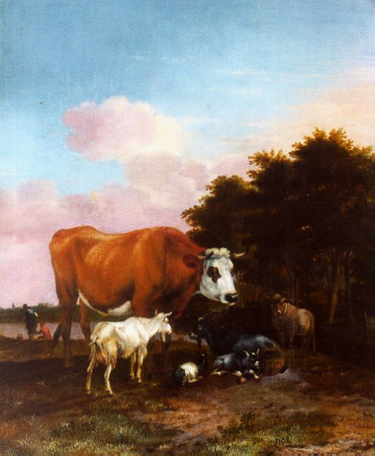 Albert Janz Klomp | Cattle in a landscape, oil on panel, 42.4 x 34.8 cm, signed l.r. and dated 1662