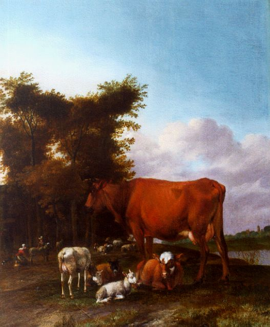 Albert Janz Klomp | Cattle in a river landscape, oil on panel, 42.7 x 35.5 cm, signed l.l. and dated 1662