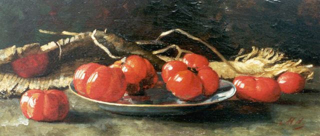 Vlielander Hein M.J.M.  | Still life with vine tomatoes, oil on canvas 25.8 x 58.1 cm, signed l.r. with initials