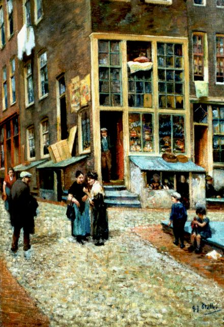 Gerard Johan Staller | A street, Amsterdam, oil on panel, 47.0 x 32.8 cm, signed l.r.