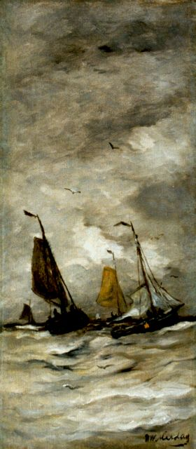 Hendrik Willem Mesdag | Ships in full sail, oil on canvas, 66.3 x 29.1 cm, signed l.r.