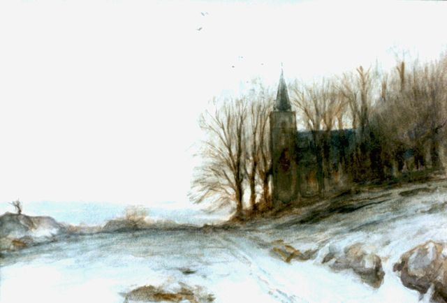 Louis Apol | A church in a winter landscape, watercolour on paper, 24.0 x 34.5 cm, signed l.l.